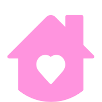 Pink house with love label