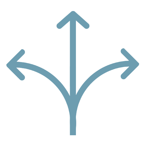 Arrows going on multiple directions