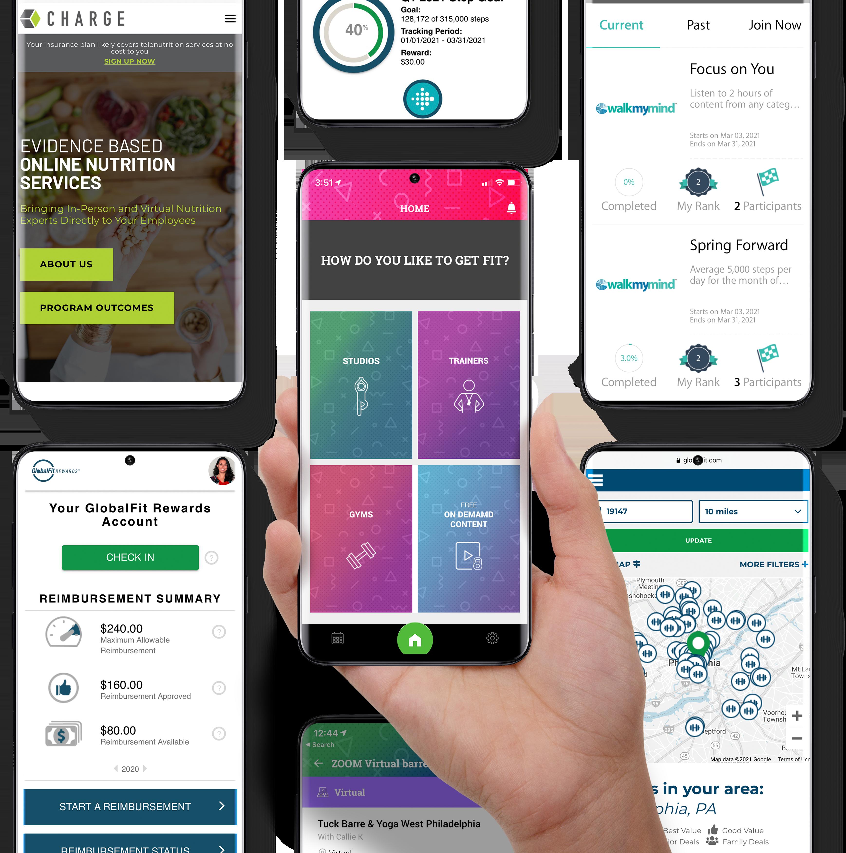 Phone displaying Globalfit Apps