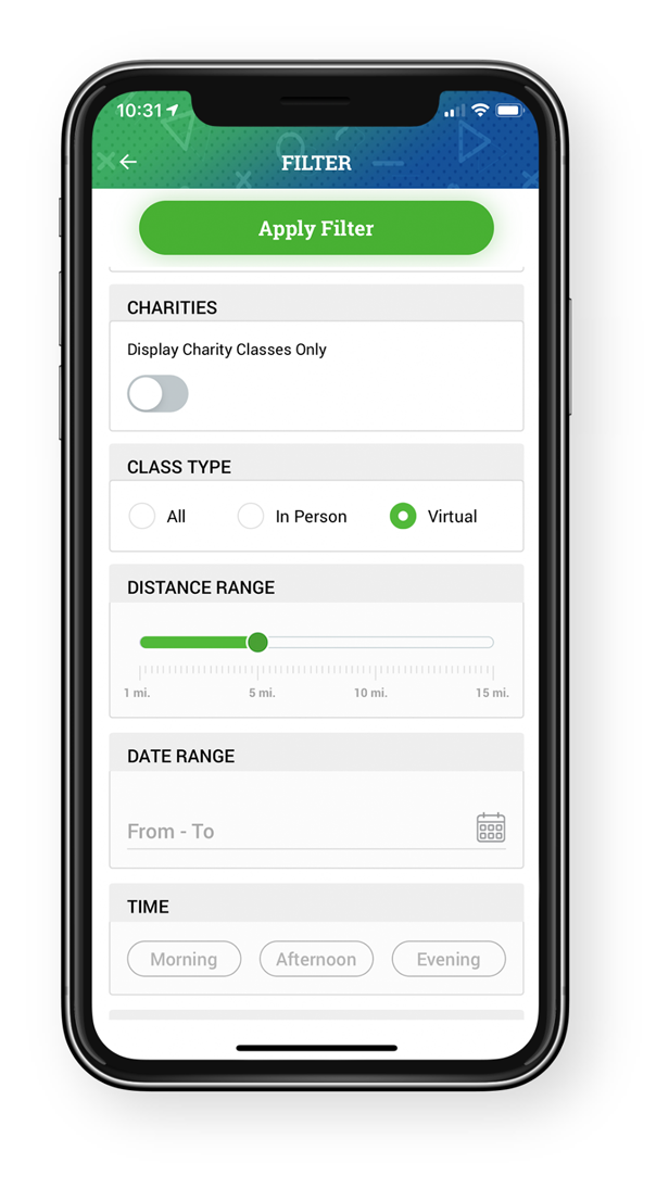 GlobalFit Anywhere App Filters